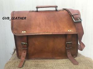 Vintage Camel Leather Men's Case Shoulder Bag Messenger Documents Laptop Case