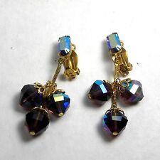 Vintage Designer Signed Lewis Segal Earrings Aurora Borealis