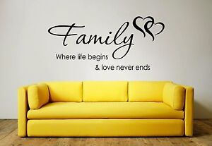 FAMILY Where Life Begins & Love Never Ends Wall Art Sticker, Decal, Mural, Quote