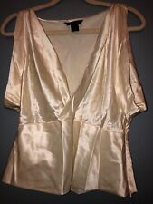 Moda International Cream Mock Wrap Draping Sleeveless Silk Top Size M