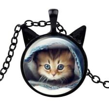 Collier pendentif imprimé chaton chat avec oreilles, fun.