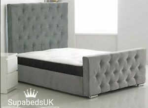 Luxury Soft Fabric Chesterfield Bed Frame + Mattress Sale  3FT Single 4FT Double