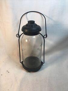 Yankee Candle Black Metal Tea Light Holder Lantern Mason Jar Glass Est 1969