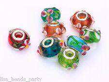 10pcs 15x9mm Lampwork Glass Murano European Big Hole Loose Beads Flowers Mixed