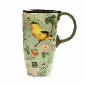 Coffee Ceramic Mug Porcelain Latte Tea Cup With Lid in Gift Box 17oz. Yellow