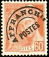 """FRANCE PREOBLITERE TIMBRE STAMP N° 83 """" MERCURE 60c ROUGE ORANGE """" NEUF x TB"""