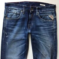Mens Replay JETO Slim Straight Leg Blue Ripped Jeans W30 L32 (525)