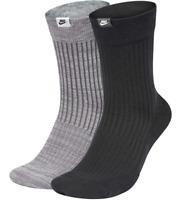 "Nike 2-pack SNKR ""Just Do It"" Crew Socks, Black/Grey, Navy/Blue, Orange/Grey"