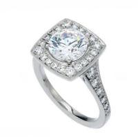 7 MM Near White Round Moissanite Diamond 14K White Gold Woman Jewelry Ring