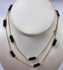 Victorian 14K Gold Mourning Jewelry Necklace w/ Black Onyx Beads