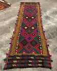 Authentic Hand Knotted Suzani Kilim Kilm Wool Area Runner 7 x 2 Ft (2846 HMN)
