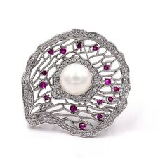 Elegant Open Red CZ Deco Domed Mother of Pearl Filigree Oyster Brooches Silver