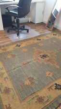 Wool with Jute Kilim Green, Duck Egg 150x215cm Quality Hand Made Reversible rug