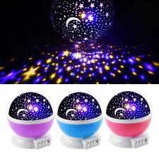 Baby Kids Lamp Moon Star Sky Projector Rotating Cosmos Constellation Night Light