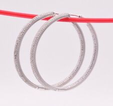 """2"""" Inside Out Diamonique Pave CZ Hoop Earrings 14K White Gold Clad Silver 925"""
