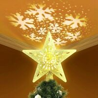 LED Rotating 3D Star Light Christmas Tree Topper Lights Xmas Home Party Decor