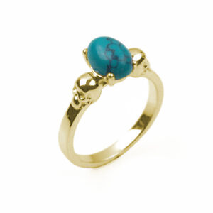 9ct Gold Skull Ring Turquoise Oval Cabochon Hand Crafted Hallmarked