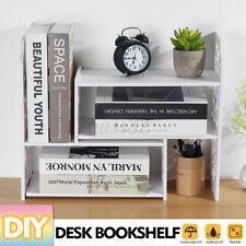 Expandable Desktop Bookshelf Bookcase Organizer Rack Office Unit Storage Shelf