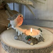 Robin on a log Christmas T Light Candle Holder Vintage Chic Gisela Graham Gift