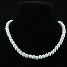 New Elegant Women Faux Round Glass Pearl Necklace Bead Strand String Jewelry 8MM