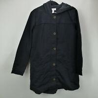 Studio by Denim & Co. Twill Jacket with Hood & Hi-Low Hem Black S A297787