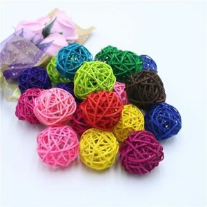 10pcs 5cm Round Christmas Rattan Wicker Balls for Home Wedding Party Colorful