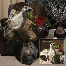 Valentines Day Gift Meerkat Rose Design Soft Fleece Throw Blanket Cover