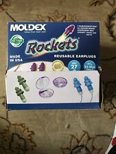 Moldex 6420 Rockets Washable and Reusable Cloth Corded Earplugs with Case New