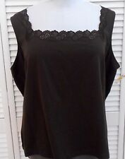 TALBOTS WOMAN Plus size TANK TOP 3X Brown LACE Sleeveless Womens NWT 32.00