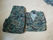 USMC MARPAT Uniform WOODLAND Combat Shirt & Pants in size MEDIUM SHORT USED