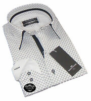 New Mens Formal White & Black Smart Double Collar Slim Fit Shirt 100% Cotton 3XL
