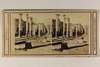 Italia Pompei Colonnes Foto Sommer Belhes Napoli Stereo Vintage Albumina c1865