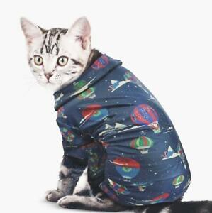 Wondershop Pet Cat Dog Flannel Pajamas S Small - Navy - Hot Air Balloon Print