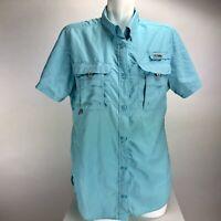 Columbia PFG Womens Short Sleeve Button Front Vented Shirt Sz M Mint Green
