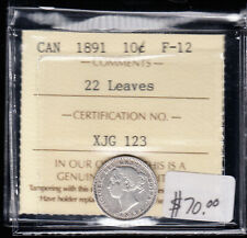 1891 Canada - 10 Cents Coin - ICCS Graded F-12 - 22 Leaves - CB06