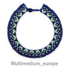 Perlen halsband im Art Deco Collier blau grün beads blue green necklace