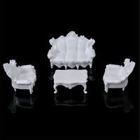 1Set Dollhouse Miniatures Living Room Furniture White Table Sofa 1:25 PIH  GVUS