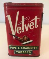 Vintage Velvet Pipe and Cigarette Tobacco Advertising Tin