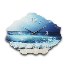 Ocean Meer Designer Funk Wanduhr Funkuhr leise aus Naturschiefer *Kreative Feder