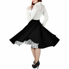 Knee Length Cotton Party Patternless Skirts for Women