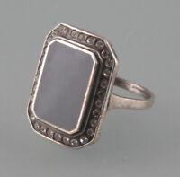 9901104 925er Silber Art -Deco-Ring Onyx Swarovski -Steinen Gr.53