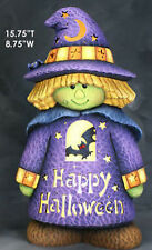 "Ceramic Bisque Ready to Paint Witch Boy ""Happy Halloween"" cut out"