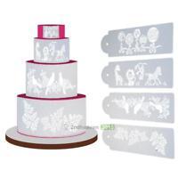 4pcs DIY Cake Cookie Fondant Lace Flower Side Baking Wedding Stencil Decorating