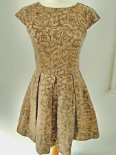 French Connection Gold Jacquard Dress Size 10 Fit & Flare Sleeveless Pleats