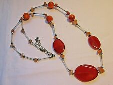 Vintage jewellery silver tone & real carnelian necklace