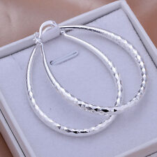 Fashion Jewelry 925Sterling Silver Large Oval Many Face Hoop Woman Earrings E293