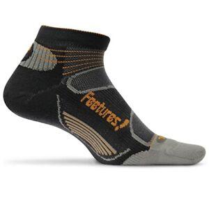 Feetures! Elite Light Cushion Low Cut Sock - Black/Orange - Large UK 9-12