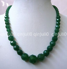 100%Genuine natural Green 6-14mm Faceted Natural Emerald Round Beads Necklace18""