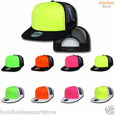 80 LOT DECKY FOAM MESH FLAT BILL NEON TRUCKER HATS HAT CAP TWO TONE WHOLESALE
