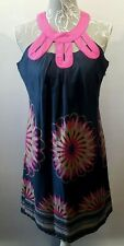 LAVAND Cotton Halter Dress UK 12, M Blue Floral with Pink Neck Detail Shift Sun